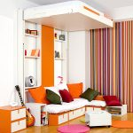 interesting furniture idea with shocking orange and gorgeous stripes wall decoration also amazing folding bed with wallmount shelves in laminate flooring concept