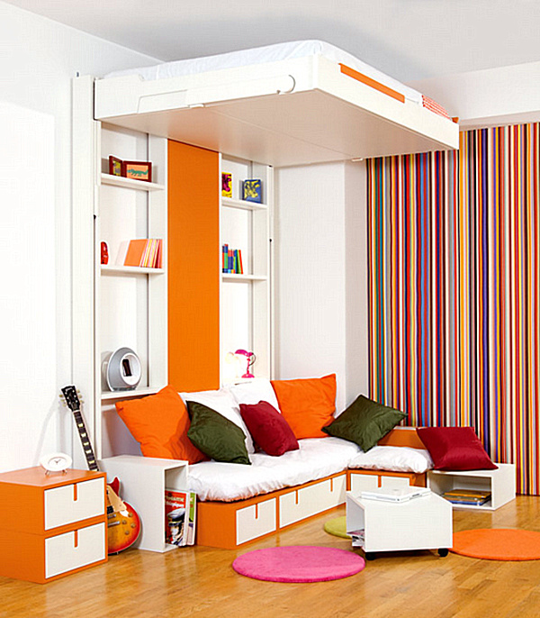 Interesting Furniture Idea With Shocking Orange And Gorgeous Stripes Wall Decoration Also Amazing Folding Bed