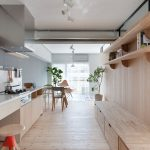 interesting japanese kitchen style with wonderful gray accent and interesting wooden wall panel for shelving with green element in hardwooden flooring