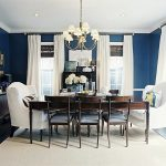 interesting navy blue dining room with classic dining furniture also ecletic white sofa facing each other and gorgoeus ceiling lamp idea with magnificent black flooring concept