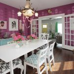 interesting purple dining room with elegant white furniture sets and ravisihng soft blue cabinet and interesting wallpaper idea in laminate flooring