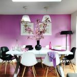 interesting purple wall for dining room with black and white dining chairs also interesting twins scone with wonderful flat ceiling in laminate flooring idea