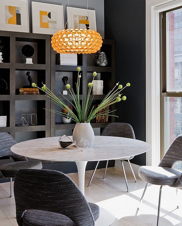 interesting small dining room with elegant dark gray chairs also ravishing round wooden table with frech