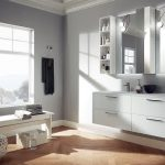 interesting white bathroom idea with mesmerizing white bench and alluring wall mount shelve with large mirror in laminate flooring