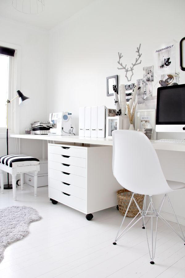 Interesting White Office With Whimsical Wall Decoration And Simple Drawers Elegant Rug In Laminate Flooring
