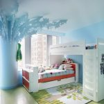 light blue painted wall light blue special and beautiful decorations white painted bedframe cute and comfortable patterned floor rug light blue painted ceiling beautiful kids room