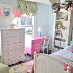 Light Blue Painted Wall White Painted Vintage Drawer Pink Painted Study Table White Painted Vintage Storage White Painted Bedframe Pink Floral Rug Pink Desk Lamp Cute And Beautfiul Kids' Room