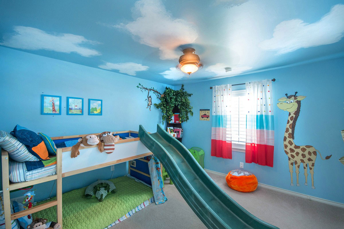 Easy kids room paint ideas - Light Blue Painted Wall Wooden Bed Small Sliding Toy Gray Carpet Animal Wall Sticker Light Blue