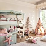 Light Creame Painted Wall Pastel Painted Bed Wooden Floor Cute Small Tent Adorable Decorations Rustic Ladder Light Creame Floor Rug Pink Pillow Cute Kids' Room For Girl