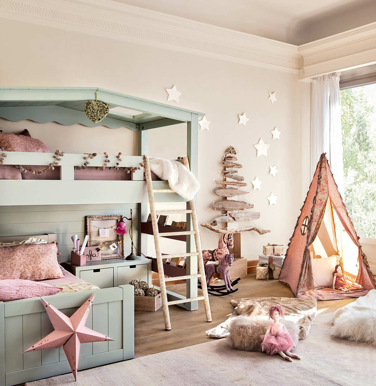 Elegant Light Creame Painted Wall Pastel Painted Bed Wooden Floor Cute Small Tent  Adorable Decorations Rustic Ladder
