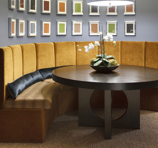 Wooden Banquette Seating: Curved Banquette Seating, Lovely And Artful Seating For