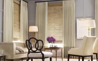 long vertical window shadings in white luxurious white living room furniture high class look standing lamps with gold-accent stand