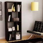 luxurious and expensive leather reading chair in black book shelves in black  no-color theme pictures in black frames minimalist cylinder pendant lamp in cream fury light-grey and black carpet