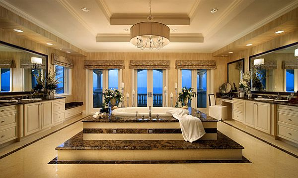 Luxurious Bathroom Design With Exclusive Bathtub In Victorian Style Also  Gorgoeus Chandelier With Magnificent Gold Tone
