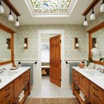 luxurious bathroom idea with magnificent wooden element also winning large mirror with cute mosaic tile flooring for classic house design