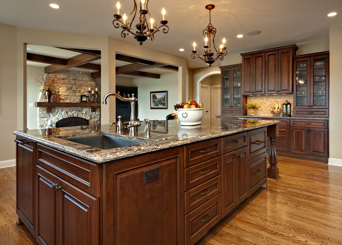 Allow extra room for dining with a large kitchen islands for Huge kitchen designs
