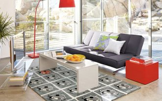 magnificent furniture idea with small sandbar coffee table also cozy black couch with sexy red arch lamp also wonderful grey rug in concrete flooring ideas