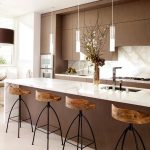 magnificent kitchen idea with elegant brown kitchen cabinet also glossy marble tops for kitchen island feat cute scone and ravishing bar stool in laminate flooring concept