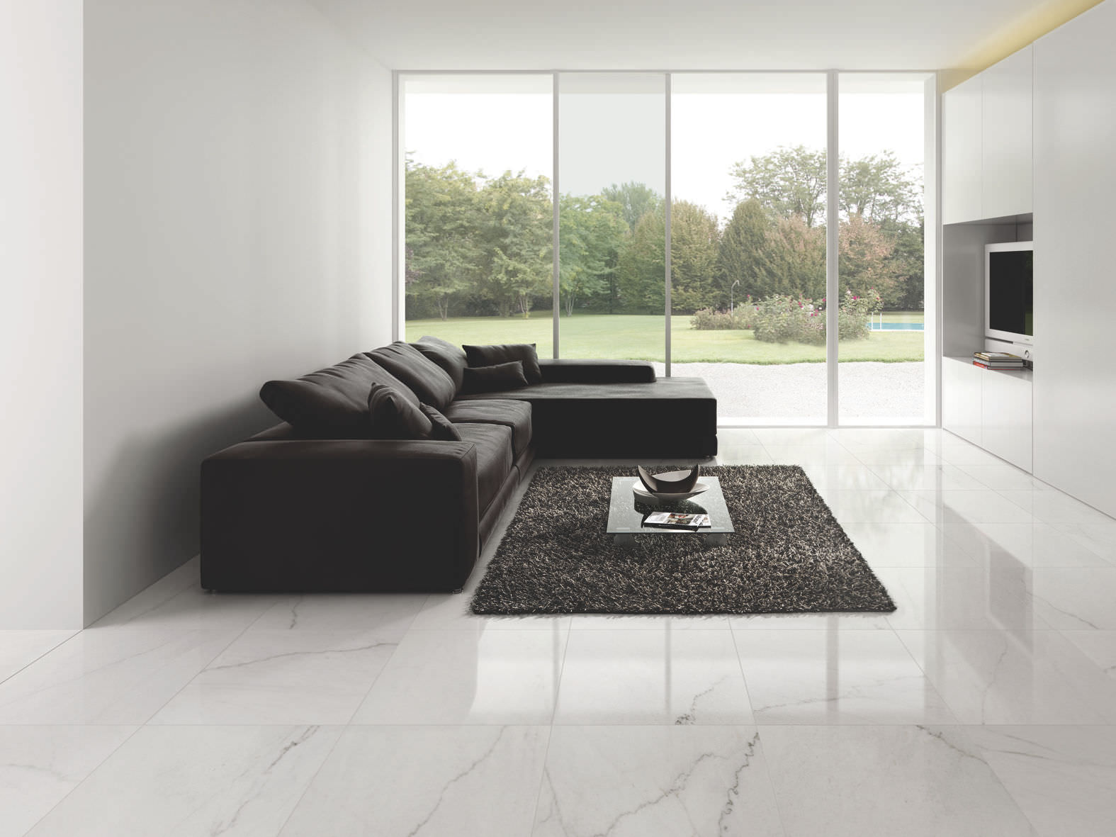 marbles grout lines in porcelain tiles flooring luxurious black rug comfy black sofa a flat tv - Porcelain Floor Tiles For Living Room