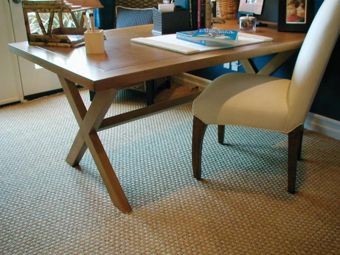 medium-size weave pattern carpet light cream seating chair wood –finish top desk office