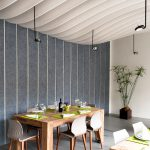 mesmerizing dining room design with dove gray stripes wall and white wavy ceiling also ravishing hardwooden dining set furnitures in laminate white concrete flooring