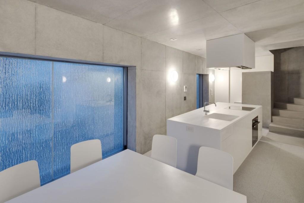 Minimalist House Japanese Kitchen With Elegant Blue Transparent Window And  Elegant Glossy White Dining Set Furniture