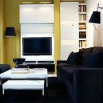 modern furniture from IKEA with sexy black cozy couch also ravishing built-in wall media with small white coffee table in black rectangular rug