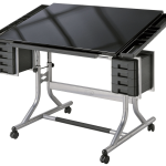 movable drawing desk with mini cabinetry and black wood top desk