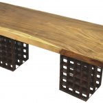 natural hardwood desk top with square metal feet model