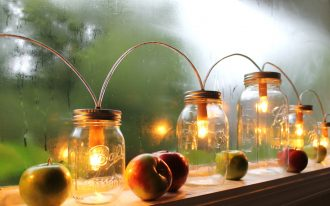 ornamental mason jar lighting  fresh apples ornaments