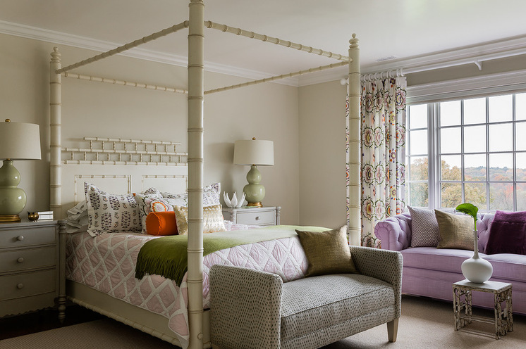 Purple Sofa White Vase White Ceiling White Wood Side Tables Pale Green  Table Lamps With White