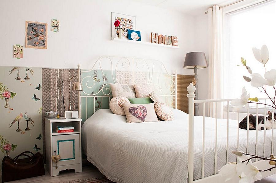 Ravishing Feminine Bedroom Ideas With Wonderful Flea Market Wall Decoration  Also Interesting White Bedding With Beautiful