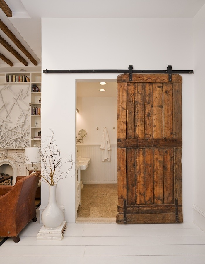 Glass Barn Doors For Closet A Newest Style Of Bathroom Interior