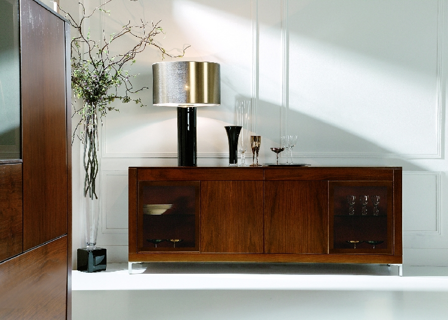 Sideboard In Rustic Style With Glass Door Shelves Glowy Sliver Cap Table Lamp