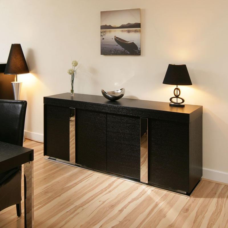 Simple Black Wood Sideboard Unit With Vertical Strips Mirror Ornaments Elegant Table Lamp Tiny Glass