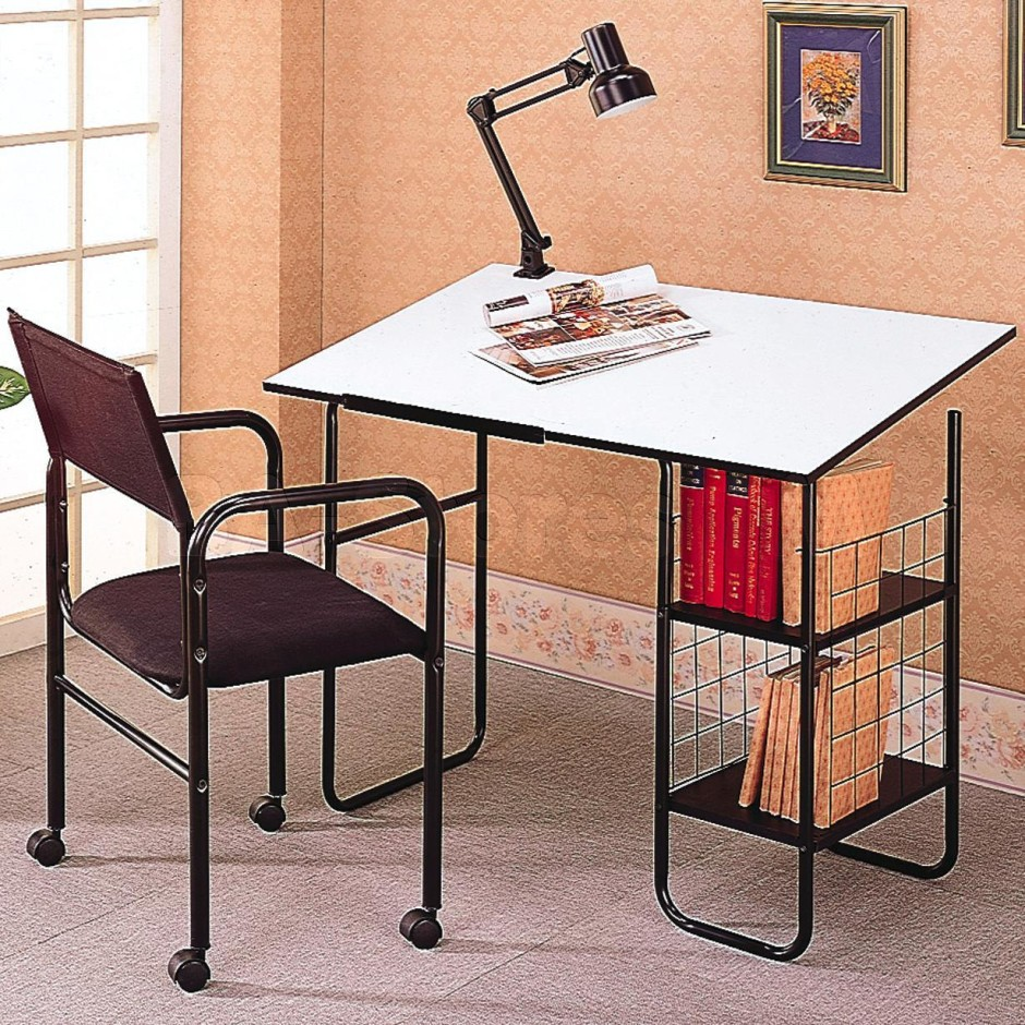 simple minimalist drawing table with shelves a uniqueshape reading lamp movable working chair - Drafting Table Ikea