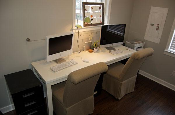 Simple Twin Desks For Office Home White