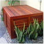 simple wood equipment pool enclosure with air ventilation natural stone floor idea vivid floral ornament