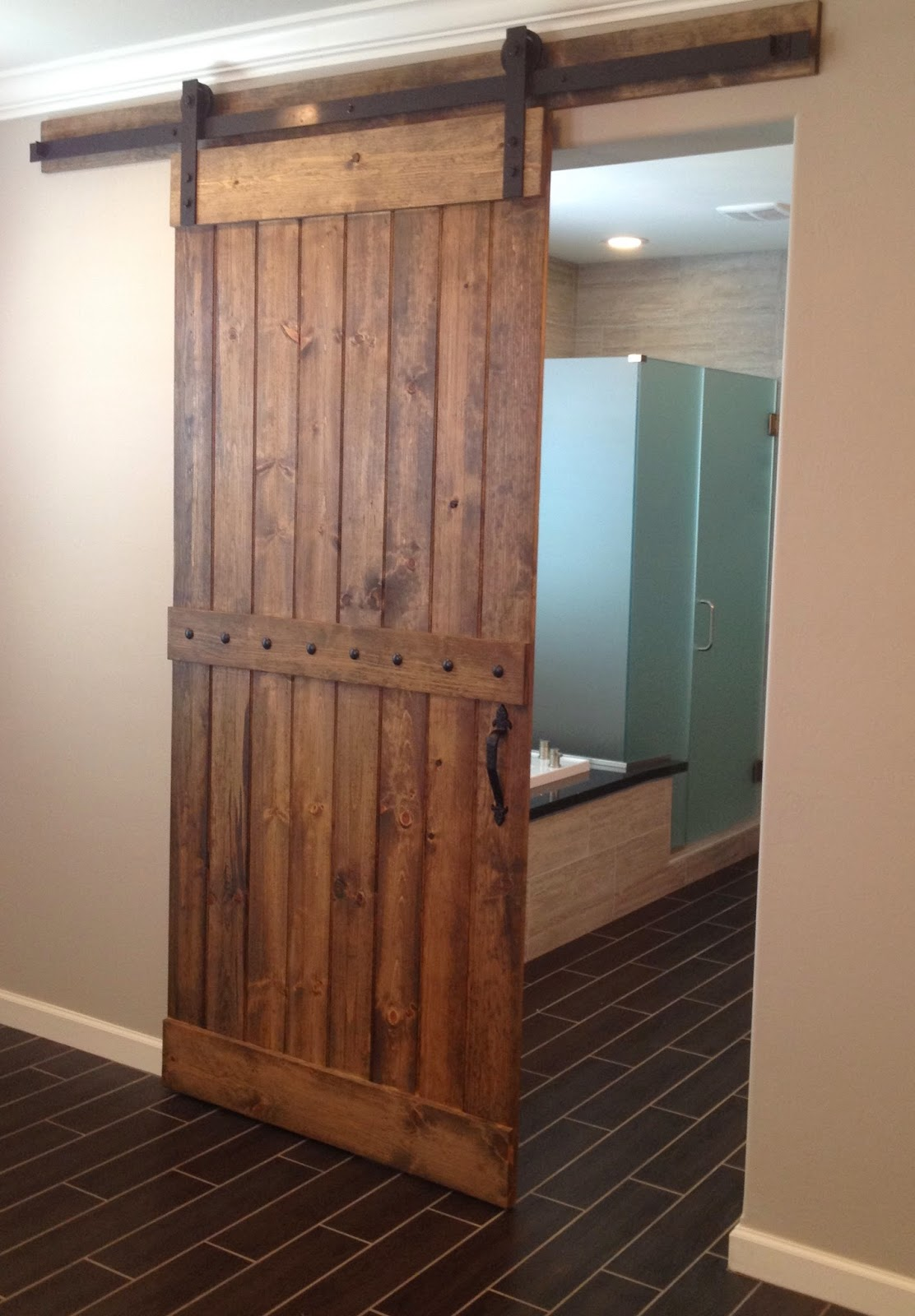 Sliding Hardwood Barn Door In