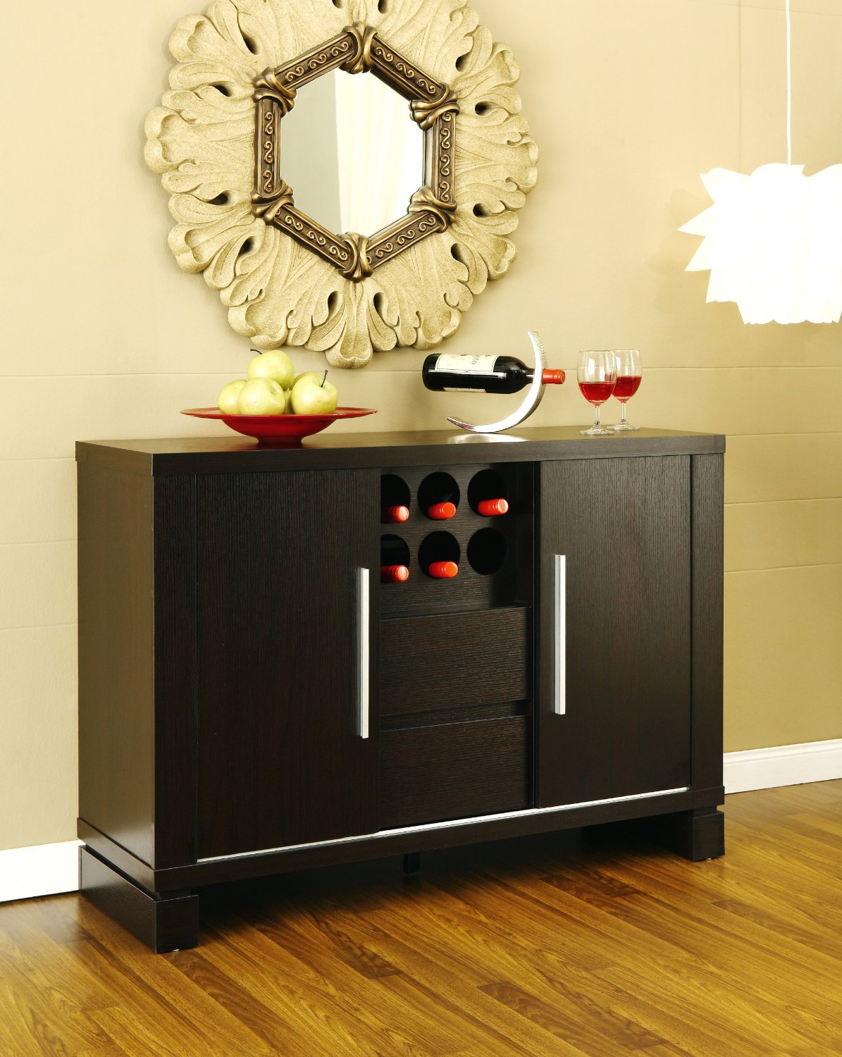 Smaller Black Wood Kitchen Sideboard With Unique Storage Design Red Plate For Fruits A Metal Wine