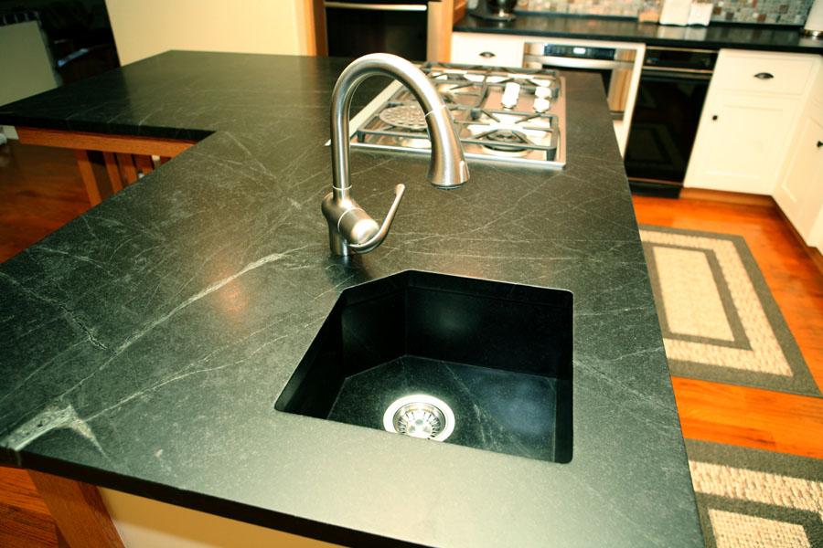 Soapstone Kitchen Sink Installation With Bigger Metal Faucet Elegant Black  Soapstone Finish Countertop Modern Kitchen. Best Kitchen Sink Material ...