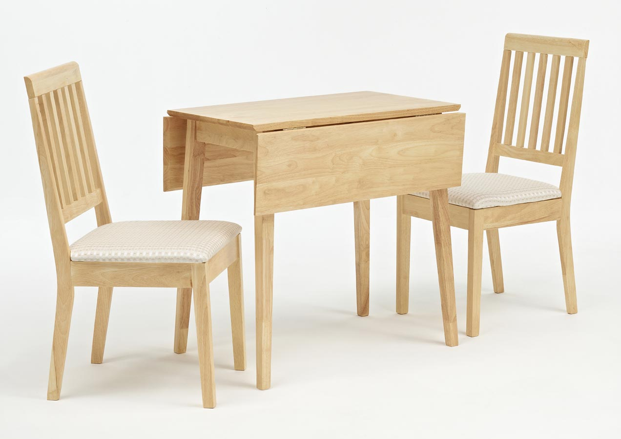Softwood Double Drop Leaf Table With A Pair Of Simple Dining Chairs