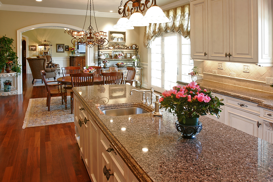 Granite Countertop With Storage And Stainless Steel Sink And Faucet Beautiful Roses Ornament