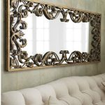 square ornamental mirror in carving bronze frame cozy white sofa