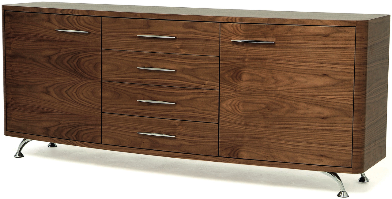 Stainless Steel Legs Sideboard Made From Hardwood With Great Natural Lines.  Unique Tone Wood Sideboard With Drawer Sets And Cabinet. What Is A ...