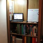 standing desk on shelves book arrangements schedule board netbook unit stainless steel reading lamp