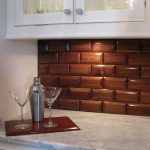 Tiles In Wood Colors For Kitchen Wall Framed Cabinet A Pair Of Wine Glasses White Marble Countertop White Big Cabinet