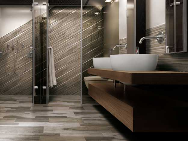 wood tile bathroom. tiles like  natural wood floor big mirror wall beautiful rounded sink planted Tile look Reviews A New Reference in Flooring Industry