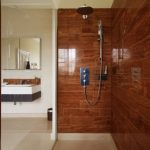 Tiles Look Like Wood For Bathroom Wall Hanging  Square Sink Standard Faucet Frameless Mirror