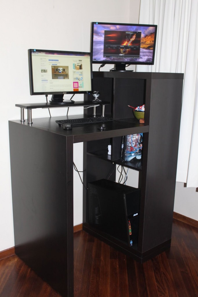 Home Standing Office Design Ideas: Build Your Own Stand Up Desk From Recycled Wood